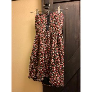 Strapless floral mini dress